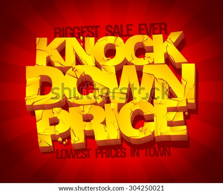 Knock down price banner. Sale typographic design with gold broken text against deep red rays backdrop. - stock vector