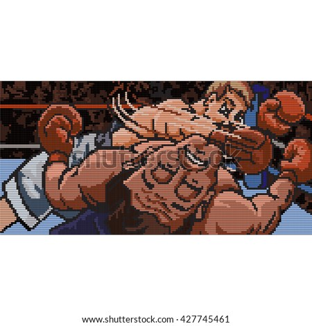 Knockout punch. Boxing match. A fighter strikes a knockout punch in this pixel rendering. - stock vector