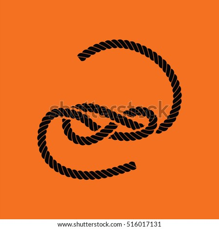 Knoted rope  icon. Orange background with black. Vector illustration.