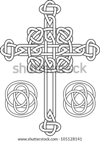 Knotted celtic cross stencil vector illustration for web - stock vector