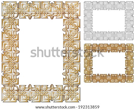 knotwork border in Art Deco style, with variations - stock vector