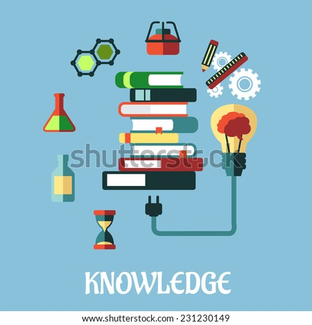 Knowledge and web education flat design with a light bulb plugged into a tall stack of books surrounded by various scientific and media icons on a blue background - stock vector