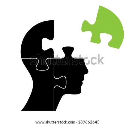 Knowledge concept vector design with green puzzle piece. - stock vector