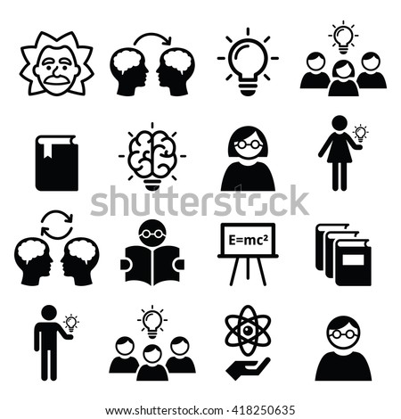 Knowledge, creative thinking, ideas vector icons set  - stock vector