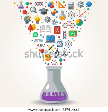 Knowledge Icons fly out from Tube. Concept of Learning. Vector illustration. Education Concept Art. Back to School Background. Learning process. - stock vector