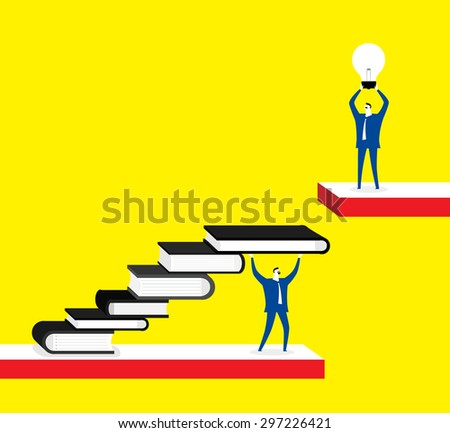 Knowledge is a shortcut for ideas, businessmen, books, lightbulb - stock vector