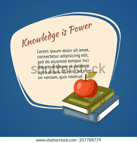 Knowledge Is Power Poster vector design with a ripe red apple and textbooks in front of a freehand frame containing the motivational message and copyspace for text - stock vector