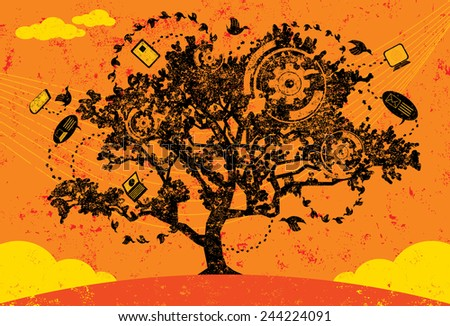 Knowledge Tree A tree acting as a hub for the growth and sharing of information utilizing social media and wireless technology. The tree and background are on separate labeled layers. - stock vector