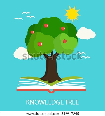 Knowledge tree growing out of book, vector illustration - stock vector