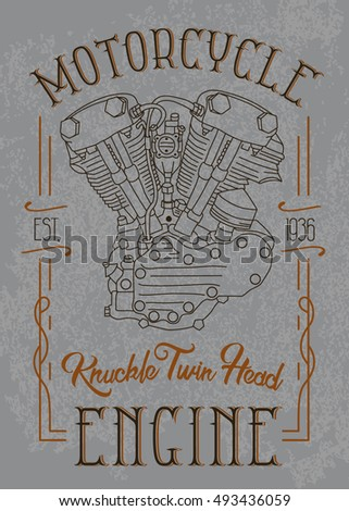 Knuckle twin head motorcycle engine. Biker poster, t-shirt design with stylish vintage elements on grunge background.