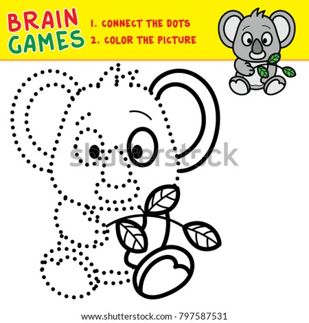 Koala Coloring Page For Kids Brain Games Activity