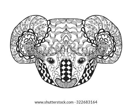 Koala Head Adult Antistress Coloring Page Black White Hand Drawn Doodle Animal Ethnic