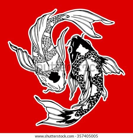 koi carp; yin yang symbol; feng shui - stock vector