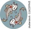 Koi carps tancho - yin yan symbol - stock