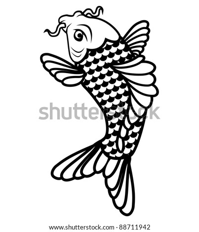 Koi fish black and white illustration (eps 8) - stock vector