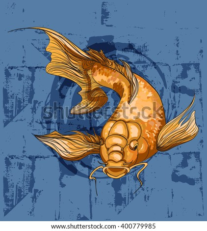Koi fish on grunge background. Japanese print with koi fish for t-shirt. Vector art illustration - stock vector