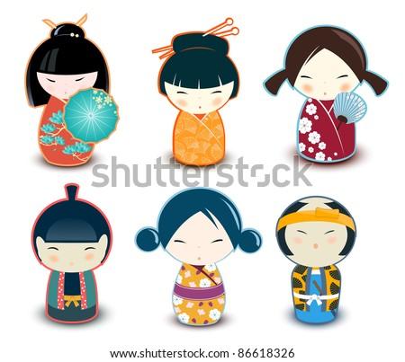 Kokeshi dolls - stock vector