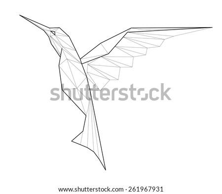 Kolibri. Low polygon linear vector illustration - stock vector