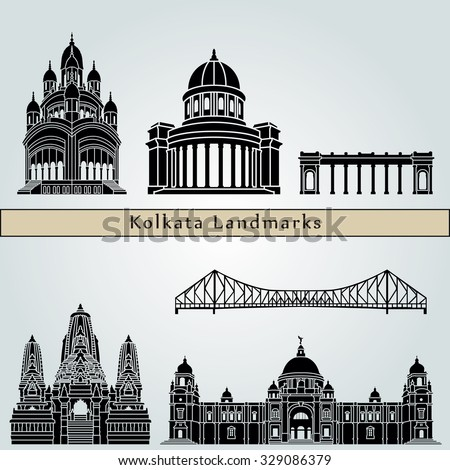 Kolkata landmarks and monuments isolated on blue background in editable vector file - stock vector