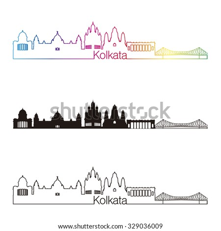 Kolkata skyline linear style with rainbow in editable vector file - stock vector