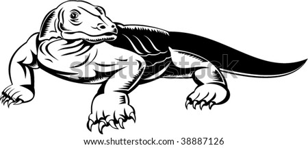 komodo dragon done in woodcut style