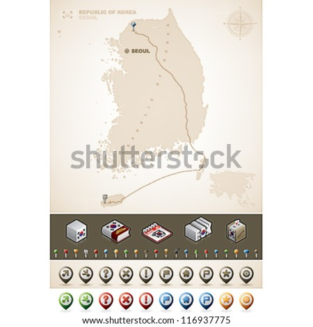 Korea and Asia maps, plus extra set of isometric icons & cartography symbols set - stock vector