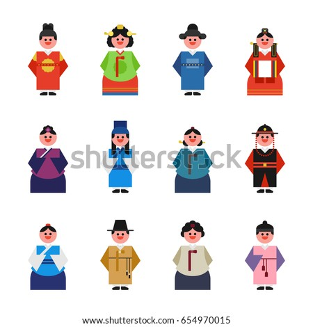 Korea cute character costume vector illustration flat design