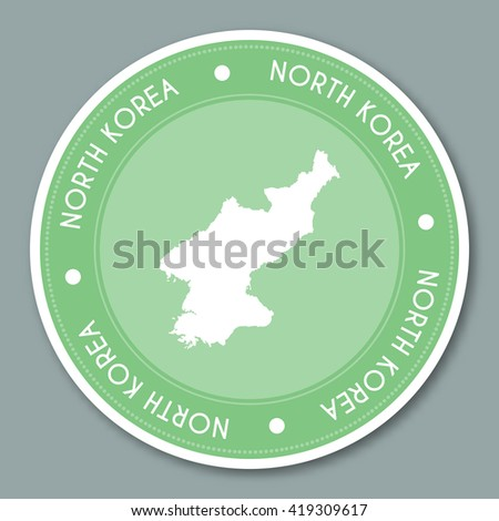 Korea democratic peoples republic of label flat sticker design patriotic country map round label