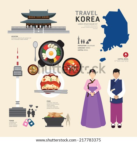 Korea Flat Icons Design Travel Concept.Vector - stock vector
