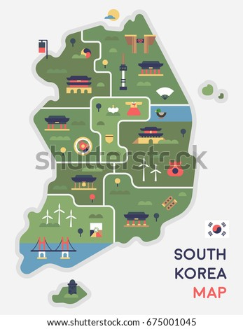Korea map vector illustration flat design