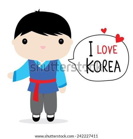 Korea Men National Dress Cartoon Vector - stock vector
