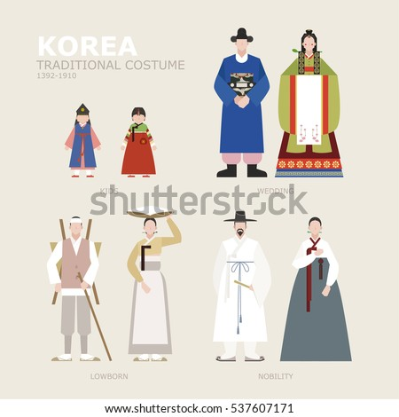 korea traditional Identity costume vector illustration flat design