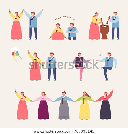Korea traditional play vector illustration flat design