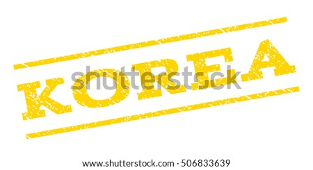 Korea watermark stamp. Text caption between parallel lines with grunge design style. Rubber seal stamp with dirty texture. Vector yellow color ink imprint on a white background.