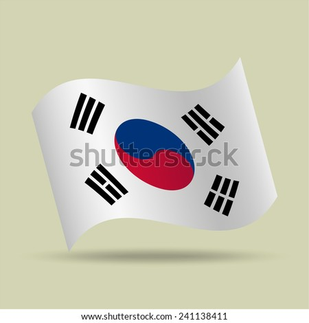 Korea, waving flag, vector icon