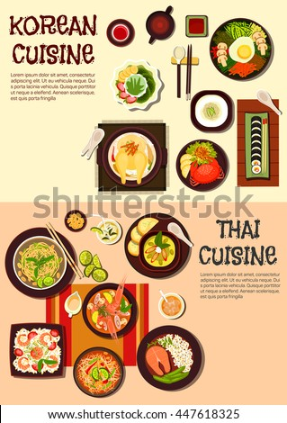 Korean and thai cuisine with sushi, spicy crab and salmon steak, fried noodles and rice dishes, shrimp, chicken soups, green curry, papaya salad, ice dessert with fruits and refreshing drinks