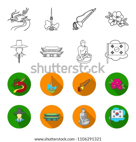 Korean National Headdress Korean Monastery Buddha Stock Vector
