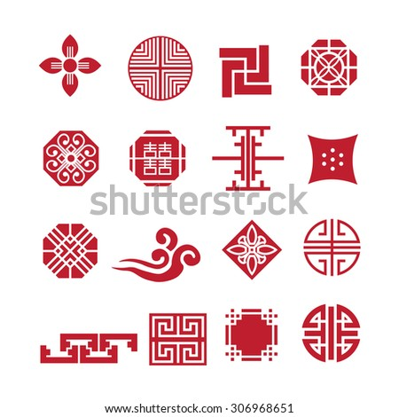 Korean ornament icon,vector set