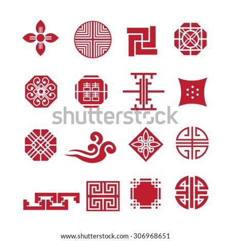 Korean ornament icon,vector set - stock vector