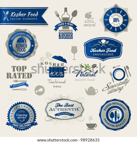 Kosher food labels and elements - stock vector