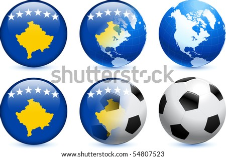 Kosovo Flag Button with Global Soccer Event Original Illustration - stock vector