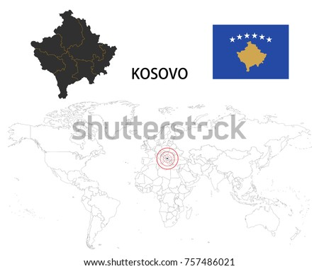 Kosovo map on world map flag stock vector 757486021 shutterstock kosovo map on a world map with flag on white background gumiabroncs Gallery