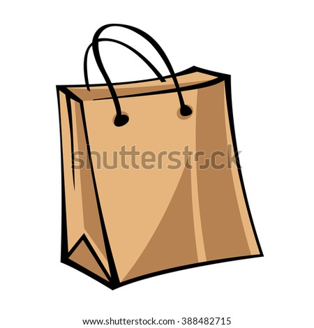 Kraft paper bag. Modern vintage illustration. Pop art style. Isolated vector object on white background.