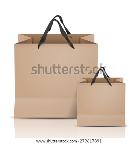 kraft paper bags set isolated on white background - stock vector