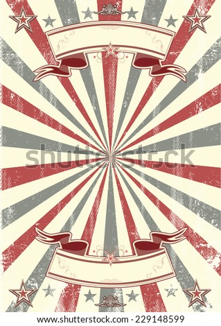 kraft paper retro poster. A vintage background with two ribbons ; ideal poster for your show - stock vector