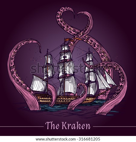 Kraken decorative emblem with sail ship in giant monster tentacles colored sketch vector illustration - stock vector