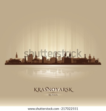 Krasnoyarsk Russia skyline city silhouette Vector illustration - stock vector