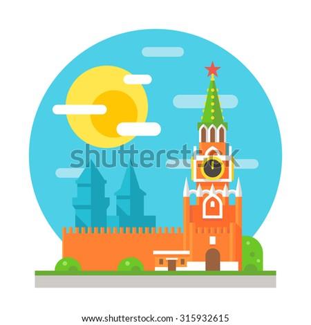 Kremlin clock tower flat design illustration vector - stock vector
