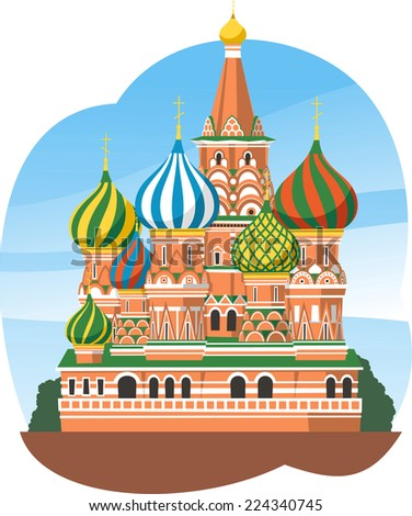 Kremlin Saint Basil's Cathedral Moscow Russia, vector illustration cartoon. - stock vector