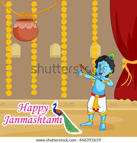 Krishna Janmashtami Sale Background in vector